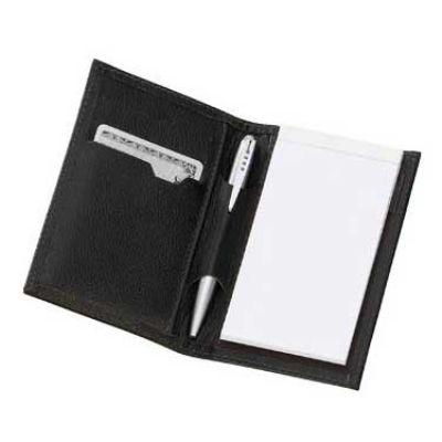 alvo-couro - Porta cartão com porta bloco.