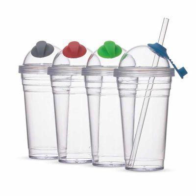 topy-10-brindes - Copo Plástico 480ml com Canudo