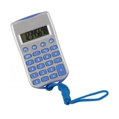 Topy 10 Brindes - Calculadora plástica retangular de 8 dígitos prata com cordão e acessórios coloridos, necessita de 1 bateria AG10 para funcionamento(acompanha). Taman...