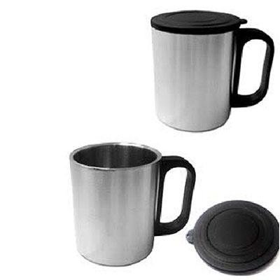 Topy 10 Brindes - Caneca de Inox com tampa de plástico, capacidade para 200 ml.  Medidas para gravação (CxC): 7,5 cm x 22,0 cm (corpo da caneca)  Tamanho total (CxC): 8...