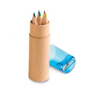 Caixa de cartão com 6 lápis de cor - Topy 10 Brindes
