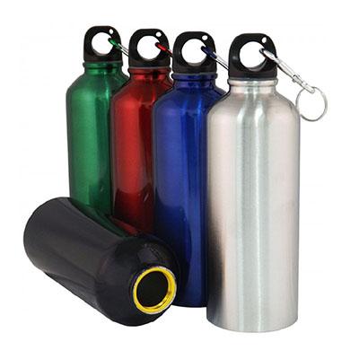 Topy 10 Brindes - Squeeze de alumínio com mosquetão e capacidade para 500ml. Tamanho total (CxC): 20,8 cm x 20,4 cm Peso do produto: 110 g