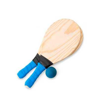 3rc-brindes - Kit frescobol com embalagem de malha plástica. Contém 2 raquetes de madeira com pegador de revestimento EVA e bolinha emborrachada com certificação do...