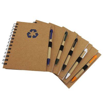 Bloco de anotações e caneta ecológico