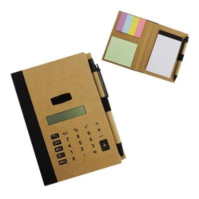 3RC Brindes - Bloco de anotações ecológico com capa calculadora solar