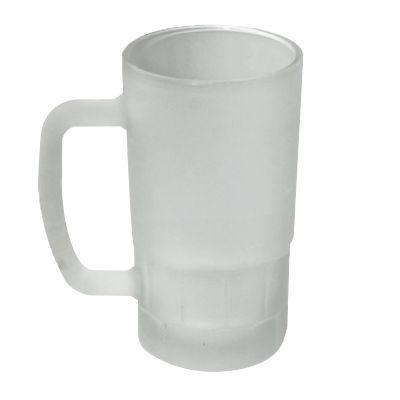 Caneca de vidro fosca branca com capacidade para 500 ml