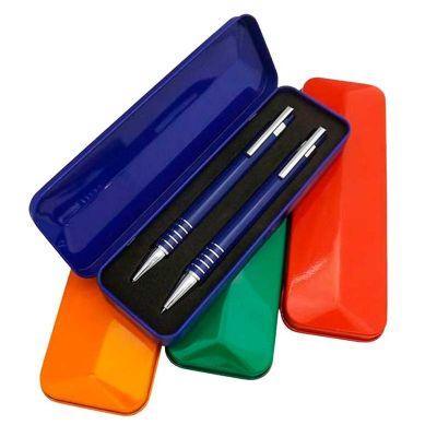 3rc-brindes - Conjunto de caneta e lapiseira semi-metal com caixa plástica