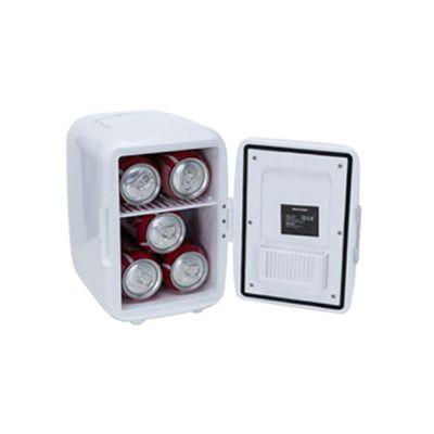 3RC Brindes - Mini geladeira plástica portátil 4 litros na cor branca com alça para transporte