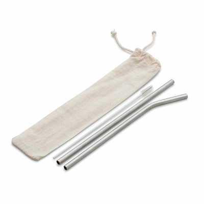 Kit Canudo em aço inox com 03 peças: canudo reto, canudo curvo, escova para limpeza. * Pode ser vendido separadamente - Diferente Mente Brindes