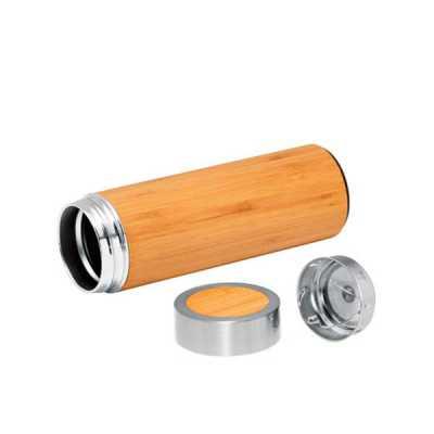 diferente-mente-brindes - Garrafa térmica. Bambu e aço inox. Com parede dupla e infusor para chá. Capacidade até 430 ml. Fornecida em caixa presente.