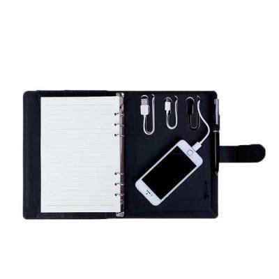 Caderno de anotações Tipo Fichario Com powerbank 4.000 mAh Bateria de Lítio Capa com material Sin...