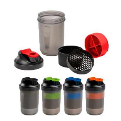 Shaker com 2 compartimentos para guardar suplementos adicionais (320 ml e 150 ml). Com escala de medição até 500 ml/16 ft oz. Capacidade: 630 ml. Food... - Diferente Mente Brindes
