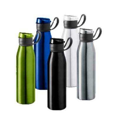 Diferente Mente Brindes - Squeeze de alumínio, com alça emborrachada. Capacidade até 650 ml. Food grade. Tamanho: ø66 x 250 mm