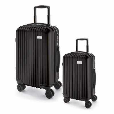 Conjunto de 2 malas de viagem executivo. ABS e PET. Interior forrado, com divisória. 4 rodas duplas giratórias. Pega extensível em alumínio, com mola... - Diferente Mente Brindes