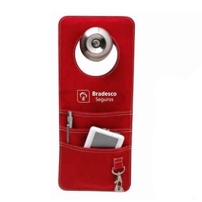 Brindes e Ideias - Organizador de porta com 3 compartimentos , coloca na maçaneta da porta pra colocar objetos e chaves.