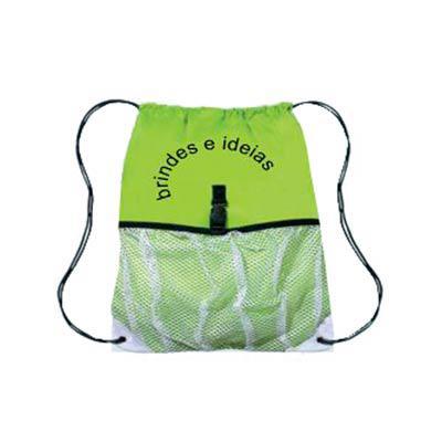 brindes-e-ideias - Mochila com bolso frontal em tela, impressão em silk