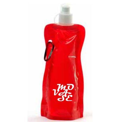 Brindes e Ideias - Squeeze dobrável com mosquetão, material de plástico. Capacidade para 480 ml