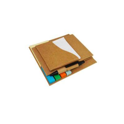 energia-brindes - Bloco de anotações com  sticky notes coloridos e caneta.