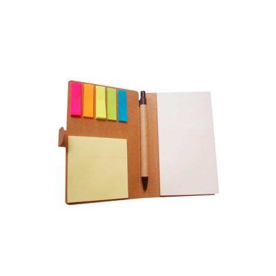 Bloco de anotação personalizado ecológico com sticky notes e caneta ecológica de papelão.