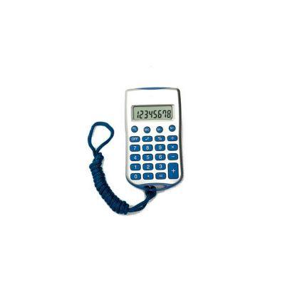 Calculadora com Cordão, 8 dígitos, nas cores azul e preto e personalização da logomarca em tampografia