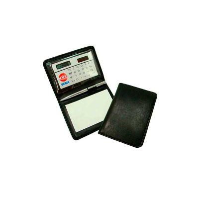 Calculadora Personalizada em lindo estojo, acompanha bloco de anotações e caneta