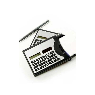 Calculadora Personalizada 3 em 1, calculadora de bolso com caneta metálica e porta cartão. Impressão da logomarca em Tampografia