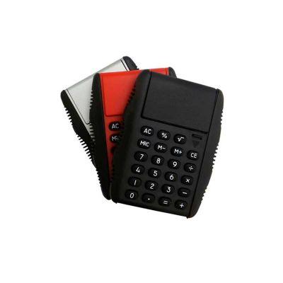 Calculadora personalizada, em plástico resistente, cores variadas e impressão da logomarca em tampografia