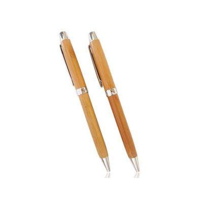Caneta personalizada ecológica de bambu, detalhes de metal. É o brinde personalizado ideal para seu evento.