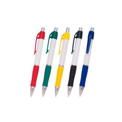 Caneta Plástica Personalizada, corpo branco, detalhes coloridos na borracha, ponteira em metal e clip em plástico