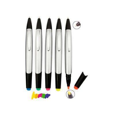 Caneta marca texto personalizada, corpo plástico prateado com detalhes em preto e impressão da logo em tampografia
