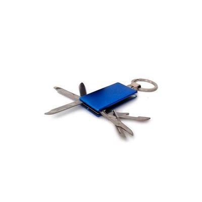 Chaveiro de Metal Personalizado, 05 Funções: 01 Abridor, 01 mini Régua, 01 Lâmina Faca, 01 Lixa e 01 Tesoura
