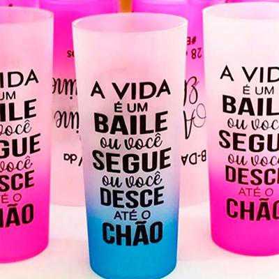 COPO LONG DRINK JATEADO  CAPACIDADE: 300 ml TIPO DE GRAVAÇÃO: Silkscreen - Energia Brindes