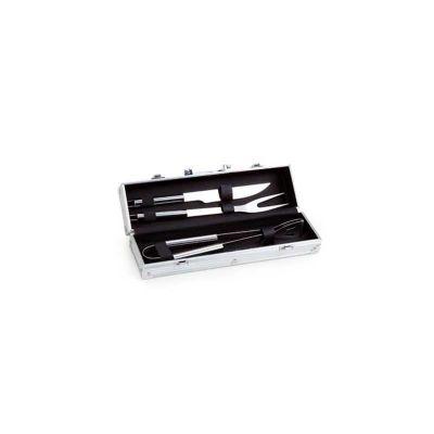 Energia Brindes - Kit para churrasco personalizado com 3 peças em aço inox.
