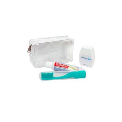 - Kit higiene personalizado com: 01 Creme dental Colgate Total 12 30g;01 Escova dental Viagem pocket; 01 Fio dental Floss White 25m e uma nécessaire.