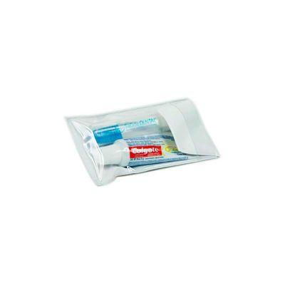 - Kit higiene personalizado com: 01 Creme dental Colgate Total 12 30g, 01 Escova dental viagem pocket, 1 Estojo (14cm comp x 7cm alt). É o brinde ideal...
