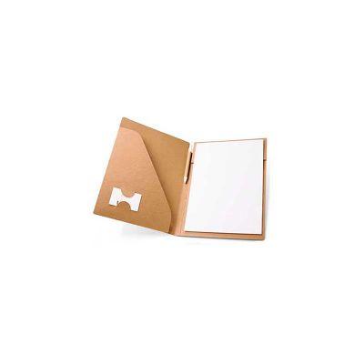 Pasta Convenção, formato A4. em papel cartão: 450 g/m². Bloco com 20 folhas não pautadas de papel reciclado. Inclui esferográfica