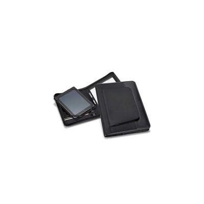 Pasta convenção, Couro Sintético e microfibra, A4, bolso exterior com ziper e suporte para tablet. bloco com 20 folhas pautadas. Esferográfica e pen não inclusas