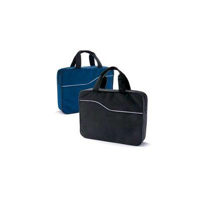 Energia Brindes - Pasta de Convenção Executiva. Em nylon 600, na cor preta e azul, personalizada em silk-screen