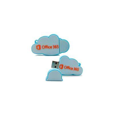 Energia Brindes - Pen drive personalizado formato de nuvem, em 2D, embalado em sacos individuais
