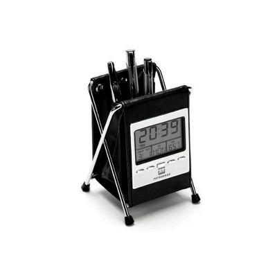 Relógio de mesa personalizado com termômetro, data, alarme e porta canetas. - Energia Brindes