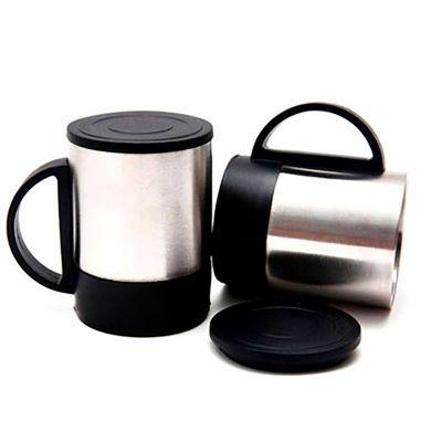 Caneca de aço inox personalizada com a sua logomarca. Pequena ela ideal para escritórios possui tampa plásticas para vedar a sua bebida e evitar respi...