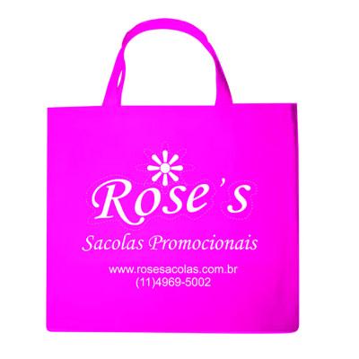 rose-sacolas - Sacola retornável promocional em tnt na cor pink