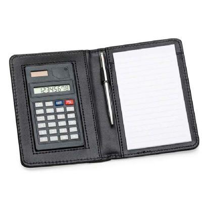 Bloco de anotações em couro com calculadora e caneta - Make Brazil