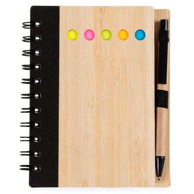 Bloco de notas ecológico capa bambu com caneta - Make Brazil