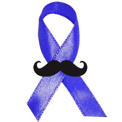 Laço cetim novembro azul com bigode - Make Brazil