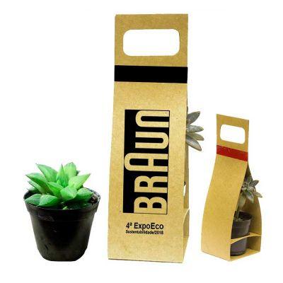 Make Brazil - Mini suculenta embalagem com alça kraft ou branca
