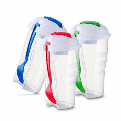 btm-brindes - Copo plástico 800 ml com recipiente para molho e garfo