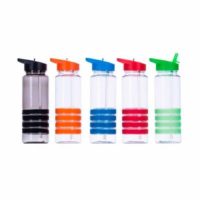 btm-brindes - Garrafa plástica 700 ml com apoio de mão emborrachado e canudo