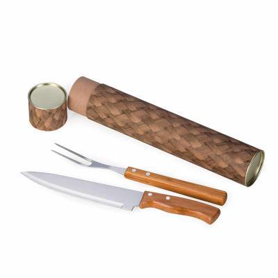 btm-brindes - Kit churrasco 3 peças em bambu e inox