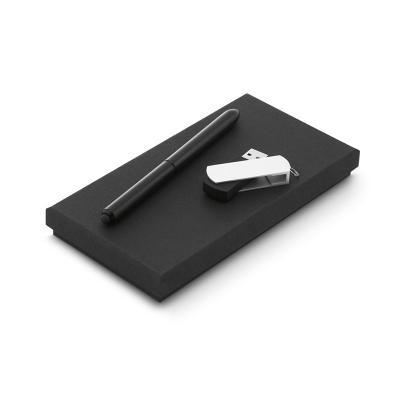 Conjunto esferográfica e pen drive. Esferográfica NEO em alumínio com ponteira touch em silicone....